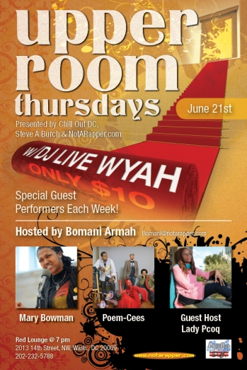 Upper Room featuring Mary Bowman & the Poem-Cees hosted by Lady Pcoq